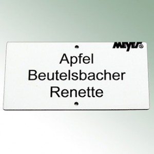 Acrylic Engraved Label 12x6m - White with Black Font